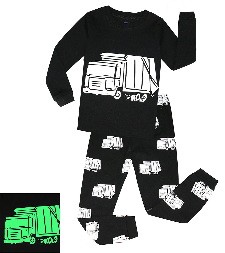 Elowel Boys Glow in The Dark Garbage Truck 2 Piece Pajama Set 100% Cotton (Size2Y-10Y)