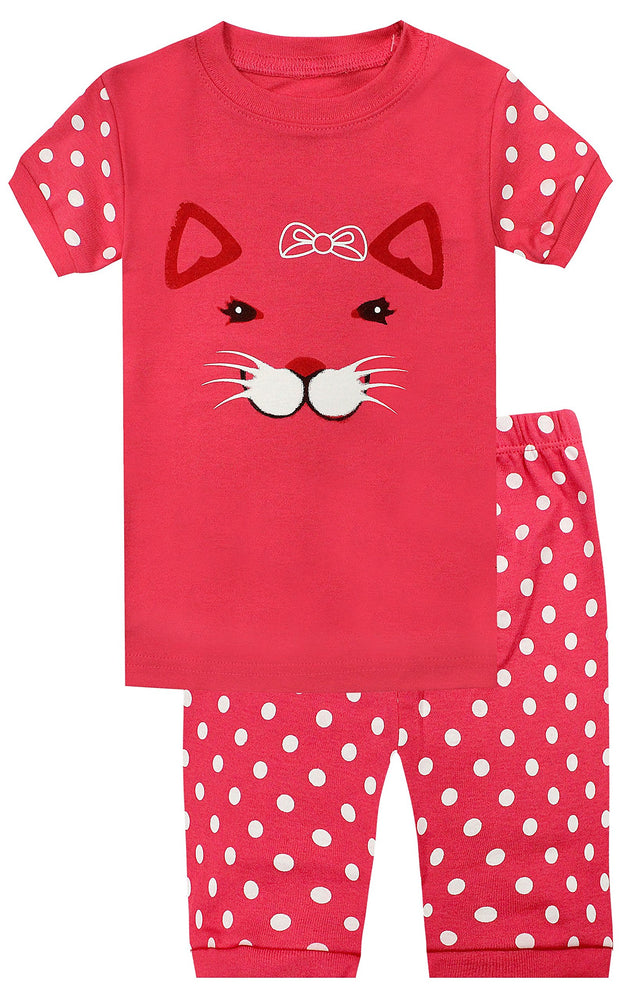 Elowel Girls Shorts Cat Face 2 Piece Pajamas Set 100% Cotton (Size Toddler-10Y)