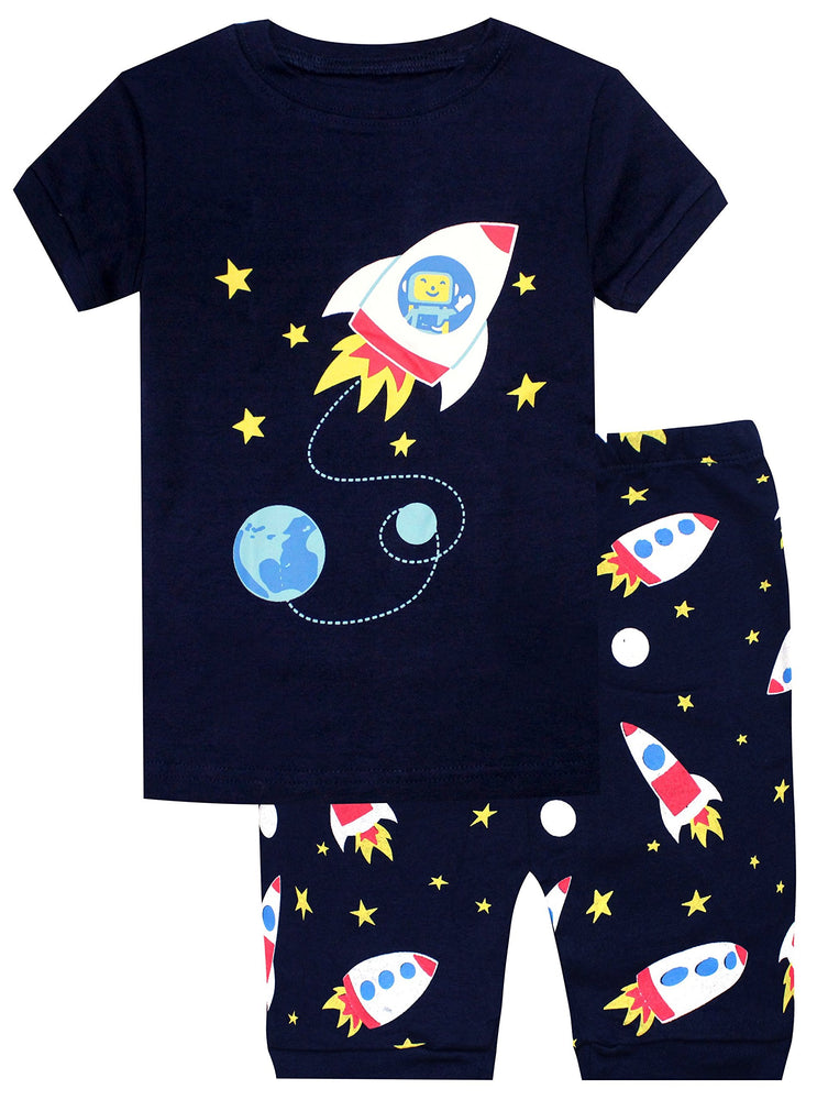 Elowel Boys Shorts Space Rocket 2 Piece Pajamas Set 100% Cotton (Size Toddler-10Y)