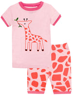 Elowel Girls Shorts Giraffe 2 Piece Pajamas Set 100% Cotton (Size Toddler-10Y)