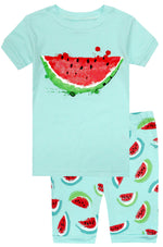 Elowel Girls Shorts Watermelon 2 Piece Pajamas Set 100% Cotton (Size Toddler-10Y)