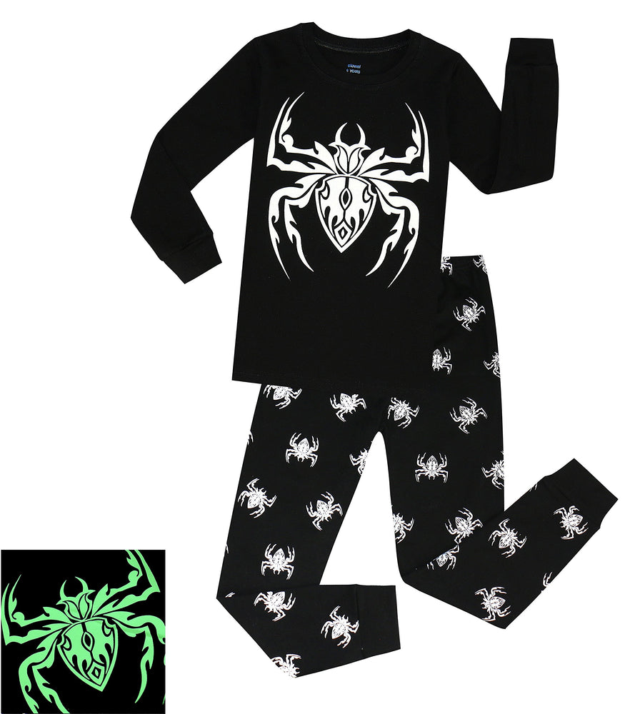 Elowel Boys Glow in The Dark Spider 2 Piece Pajama Set 100% Cotton (Size2Y-10Y)