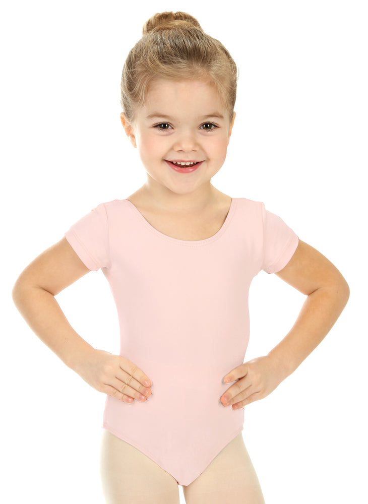 Elowel Kids Girls' Basic Short Sleeve Leotard (Size 2-14 Years) Pink