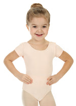 Elowel Kids Girls' Basic Short Sleeve Leotard (Size 2-14 Years) Nude Pink