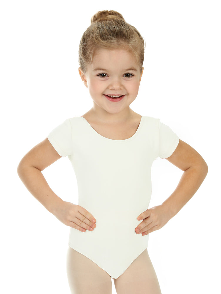 Elowel Kids Girls' Basic Short Sleeve Leotard (Size 2-14 Years) White