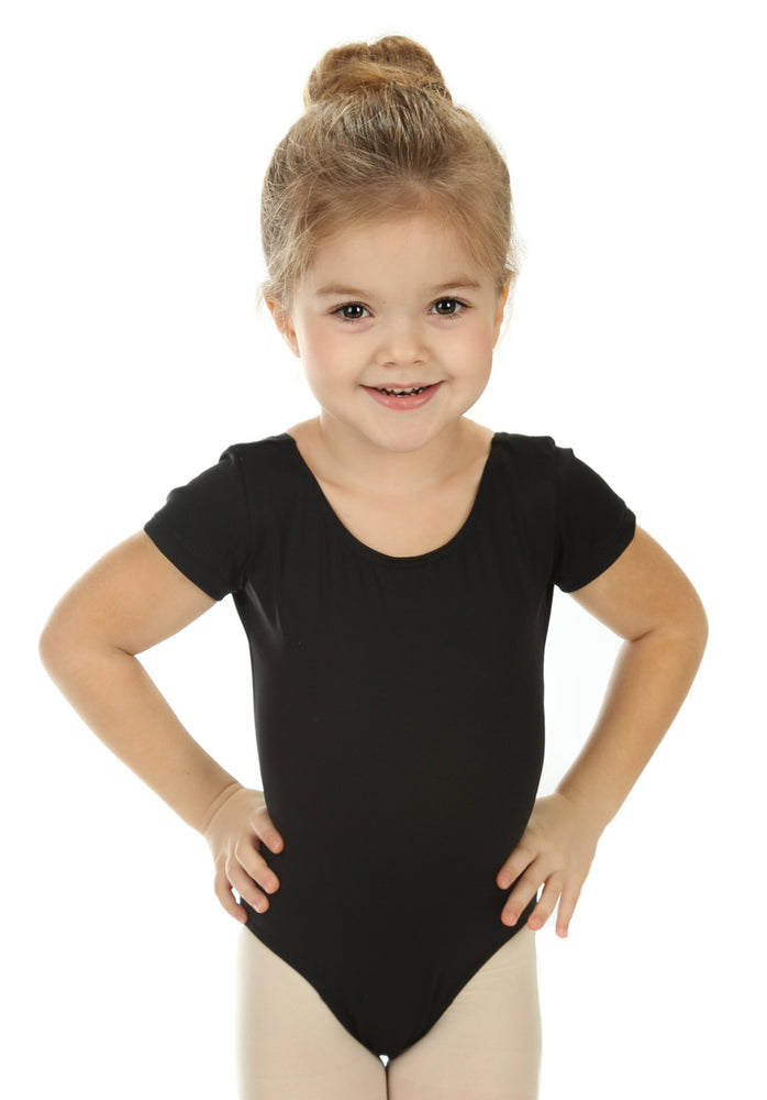 Elowel Kids Girls' Basic Short Sleeve Leotard (Size 2-14 Years) Black