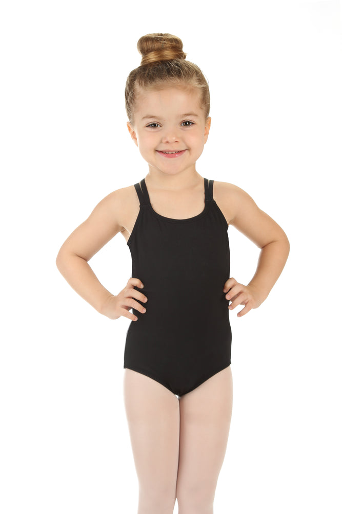 Elowel Kids Girls' Double Strap Camisole Leotard (Size 2-14 Years) Black