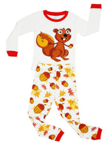 Elowel Girls Chipmunk 2 Piece Kids Childrens Pajama Set 100% Cotton (6M-8Y)