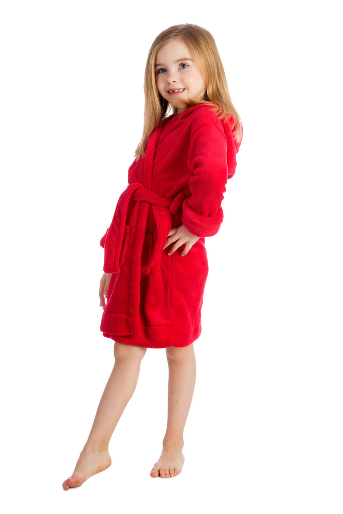 Elowel Boys Girls Red Hooded Childrens Fleece Sleep Robe Size 2 Toddler -14Y
