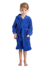 Elowel Boys Girls Blue Hooded Childrens Fleece Sleep Robe Size 2 Toddler -14Y