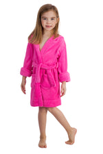 Elowel Boys Girls Hot Pink Hooded Childrens Fleece Sleep Robe Size 2 Toddler -14Y
