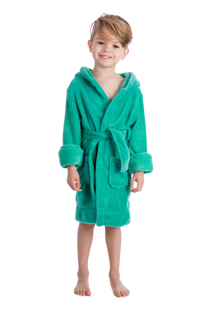Elowel Boys Girls Green Hooded Childrens Fleece Sleep Robe Size 2 Toddler -14Y