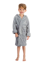Elowel Boys Girls Grey Hooded Childrens Fleece Sleep Robe Size 2 Toddler -14Y