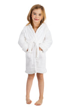 Elowel Boys Girls White Hooded Childrens Fleece Sleep Robe Size 2 Toddler -14Y