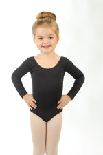 Elowel Kids Girls' Basic Long Sleeve Leotard (Size 2-14 Years) Black