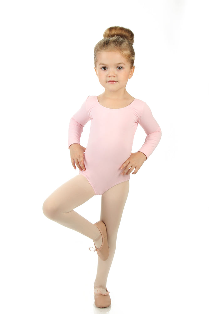 Elowel Kids Girls' Basic Long Sleeve Leotard (Size 2-14 Years)  Pink