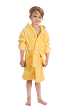 Elowel Boys Girls Yellow Hooded Childrens Fleece Sleep Robe Size 2 Toddler -14Y