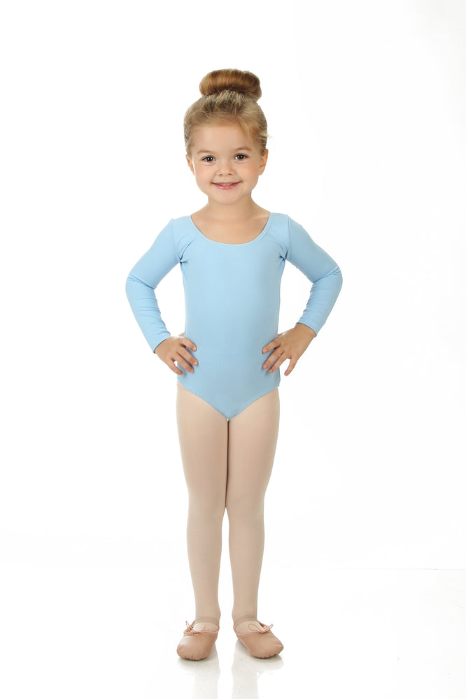 Elowel Kids Girls' Basic Long Sleeve Leotard (Size 2-14 Years) Light Blue