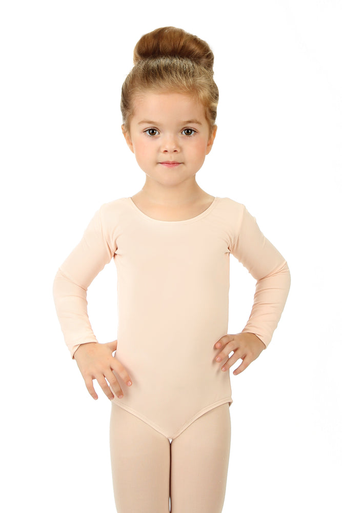 Elowel Kids Girls' Basic Long Sleeve Leotard (Size 2-14 Years) Nude Pink