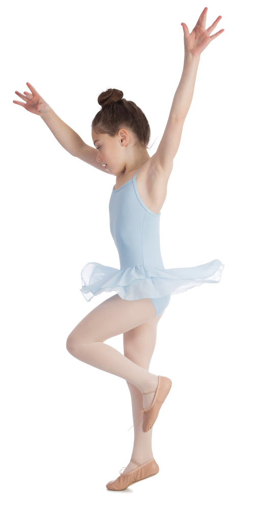 Elowel Kids Girls Basic Skirted Camisole Leotard  (Size 2-14 Years) Color Light Blue