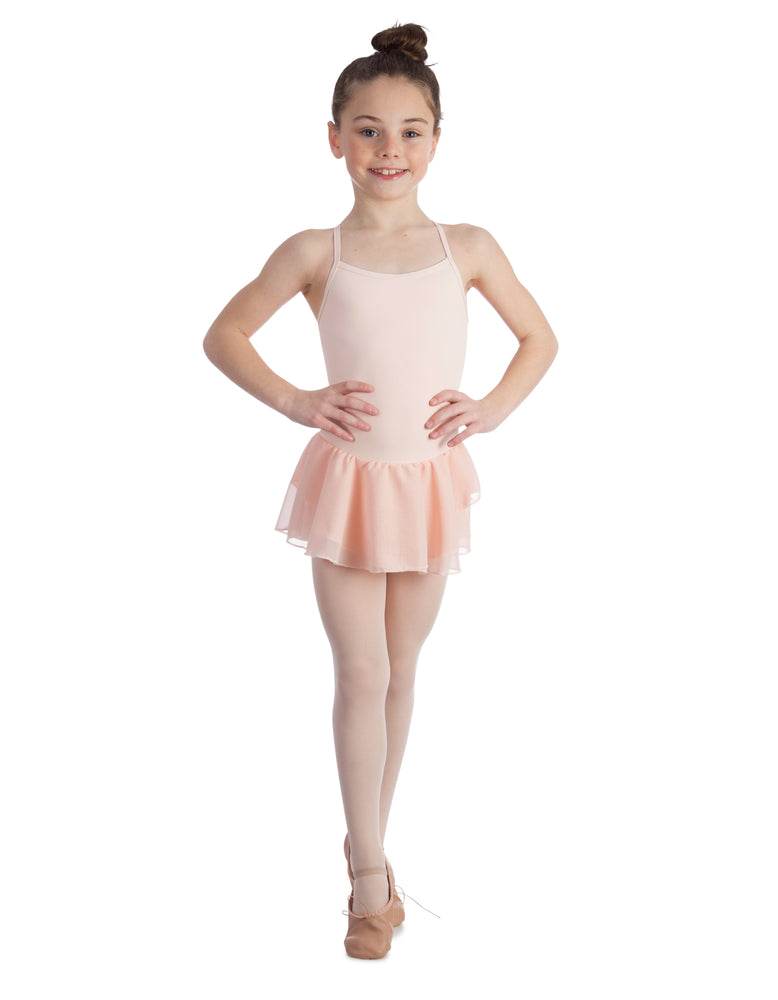 Elowel Kids Girls Basic Skirted Camisole Leotard  (Size 2-14 Years) Color Nude Pink