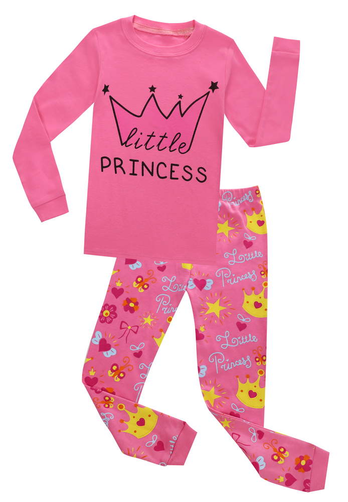 Elowel Girls Little Princess 2 Piece Pajama Set 100% Cotton Size 12 Months-12 Year