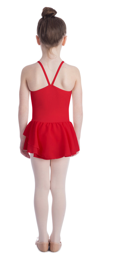 Elowel Kids Girls Basic Skirted Camisole Leotard  (Size 2-14 Years) Color Red