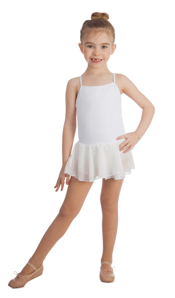 Elowel Kids Girls Basic Skirted Camisole Leotard  (Size 2-14 Years) Color White