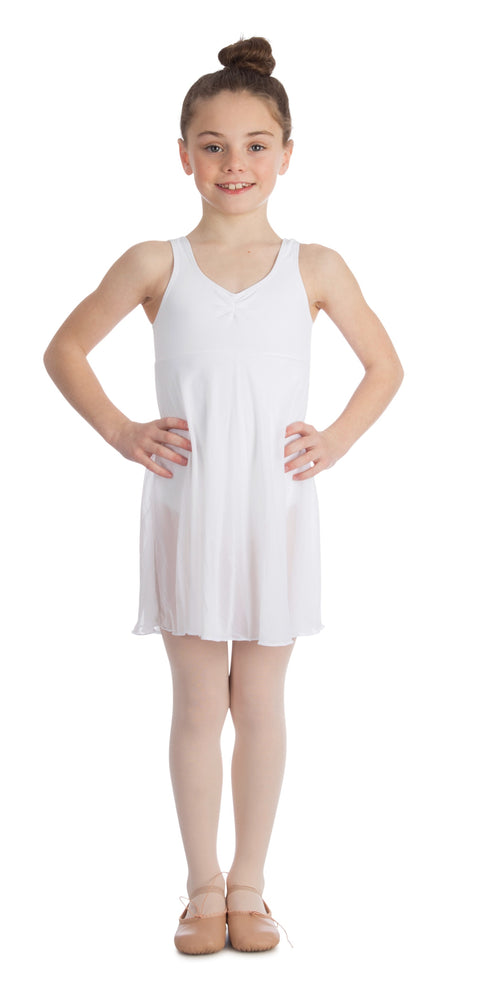 Elowel Kids Girls Empire Leotard Dress  (Size 2-14 Years) White