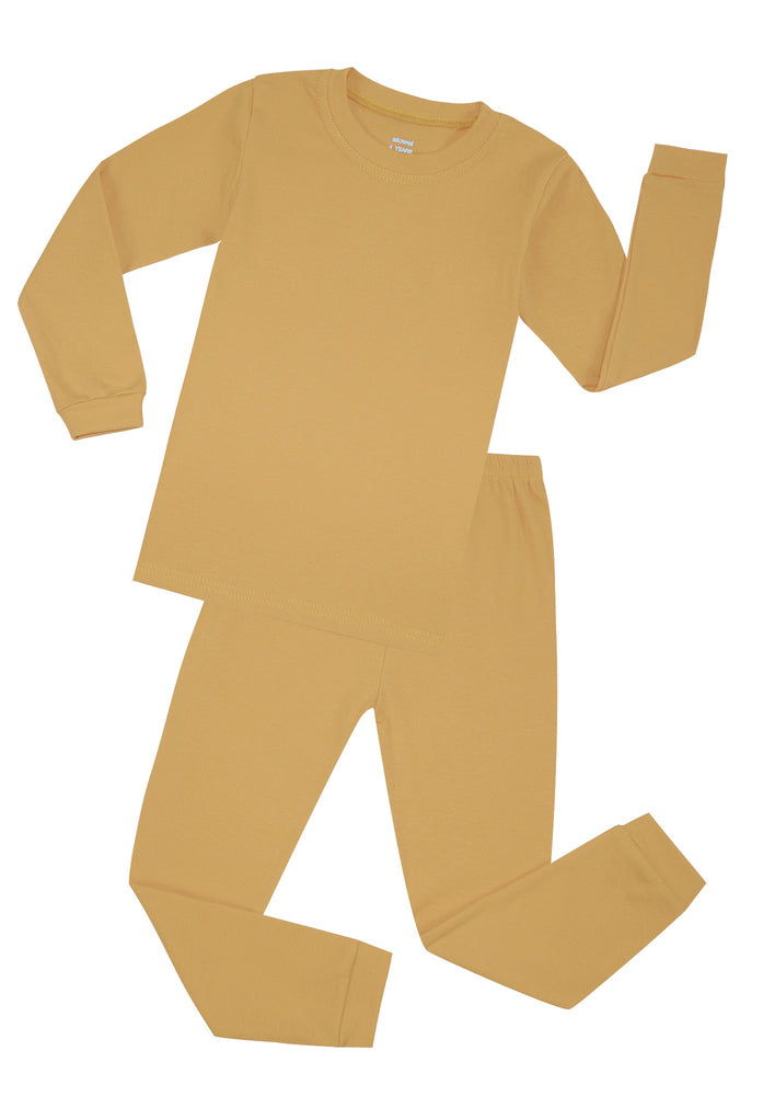 Elowel Boys Girls Beige Solid 2 Piece Pajama Set 100% Cotton (Size 12 Months -12 Years)