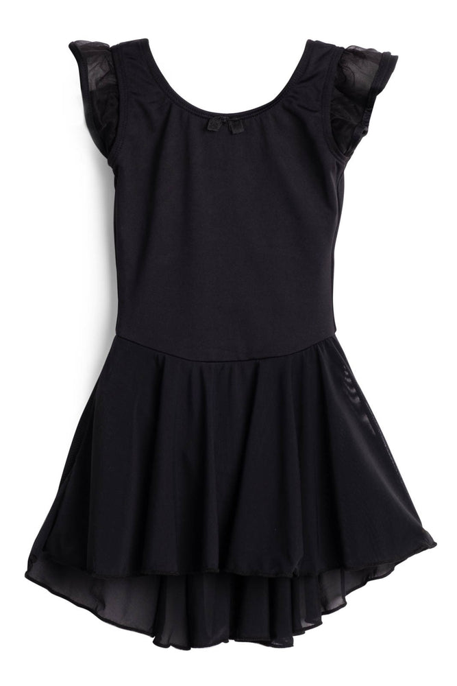 Elowel Kids Girls Flutter Leotard Dress  (Size 2-14 Years) Black