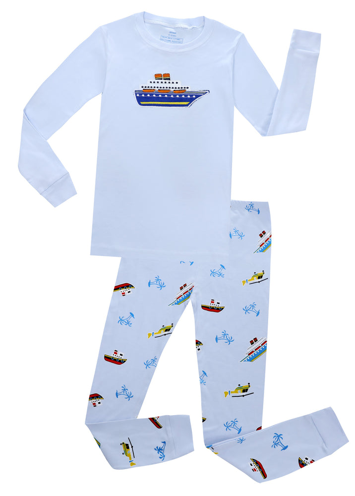 Elowel Boys Boat  2 Piece Pajama Set 100% Cotton (Size 2-10Y)
