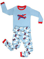 Elowel Little Boys Airplane 2 Piece Pajama Set 100% Cotton (Size6M-8Y)