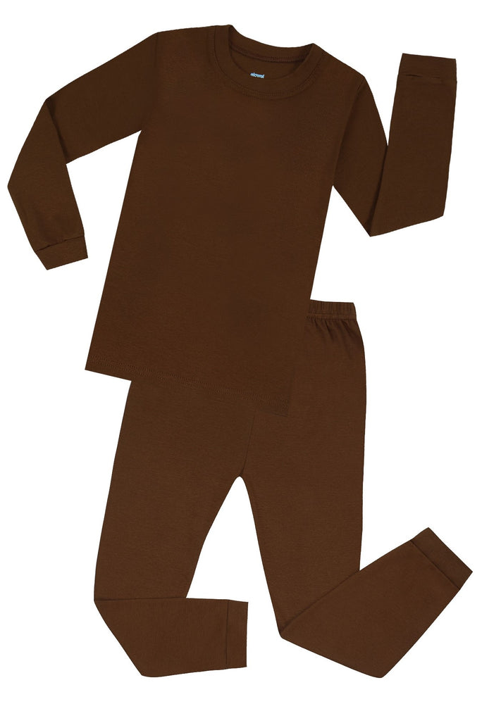 Elowel Boys Girls Brown Solid 2 Piece Pajama Set 100% Cotton (Size 12 Months -12 Years)