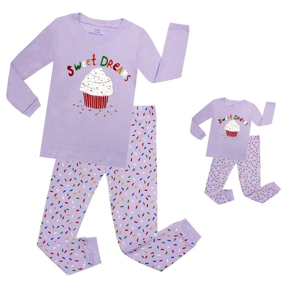 Elowel Cupcake Matching Girls & Doll 2 Piece Pajama Set 100% Cotton (Size 2-12 Years)