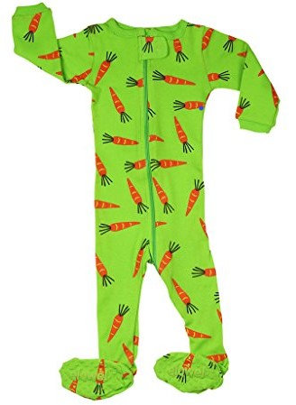 Elowel Baby Girls Footed Carrots Pajama Sleeper 100% Cotton (Size 6M-5Years)
