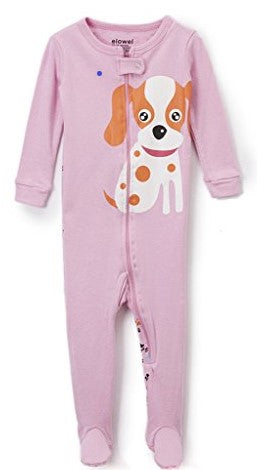 "Elowel Baby Girls footed ""Dog"" pajama sleeper 100% cotton (6M-5Y)"