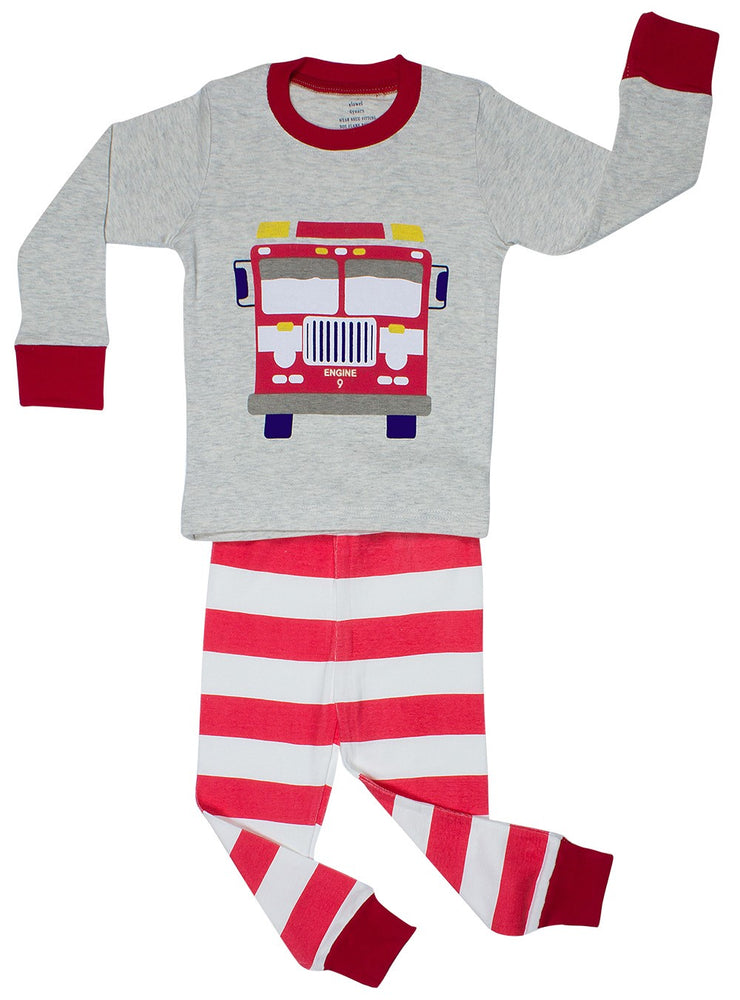 Elowel Little Boys Fire Truck 2 Piece Pajama Set 100% Cotton (Size 2-8) Grey