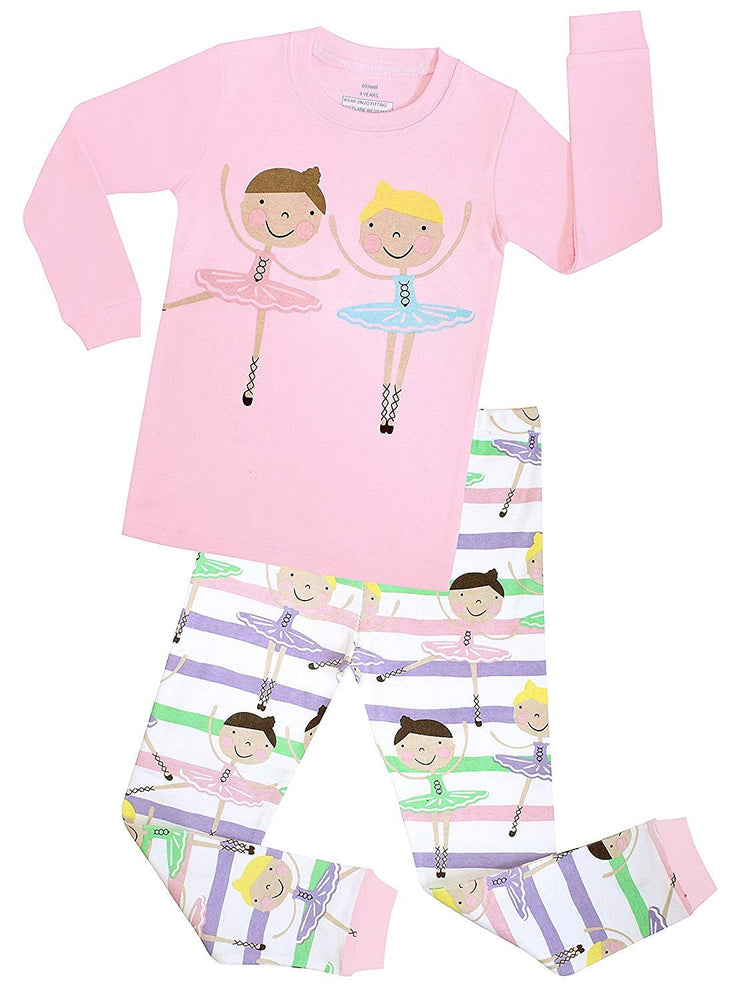 Elowel Girls Ballerina 2 Piece Kids Childrens Pajamas 100% Cotton Toddler 2Y-8Y