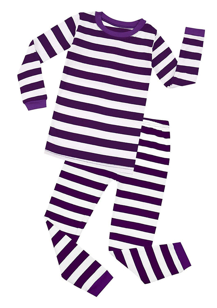 Elowel Boys Girls Purple and White Stripe 2 Piece Pajama Set 100% Cotton (Size 12 M-12 Years)