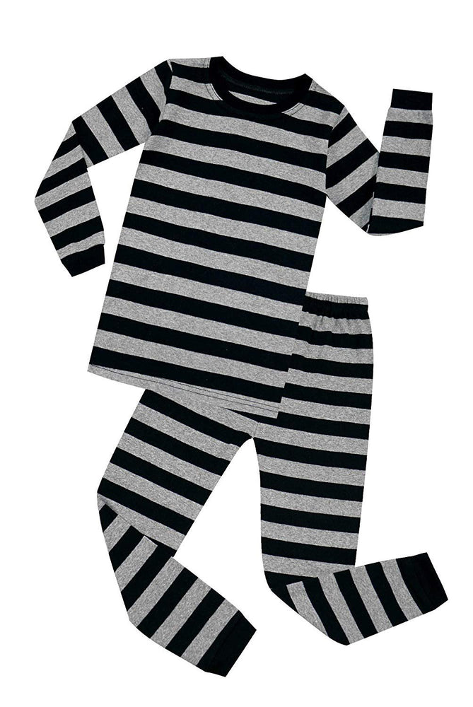 Elowel Boys Girls Grey and Black Stripe 2 Piece Pajama Set 100% Cotton (Size 12 M-12 Years)