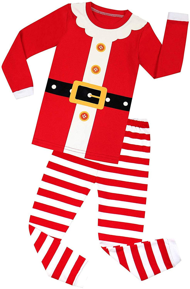 Elowel Family Red Santa Claus Christmas 2 Piece Pajamas Set 100% Cotton
