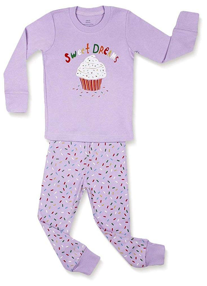 Elowel  Girls Cupcake 2 Piece Pajama Set 100% Cotton Size 18 Mo-8 Year