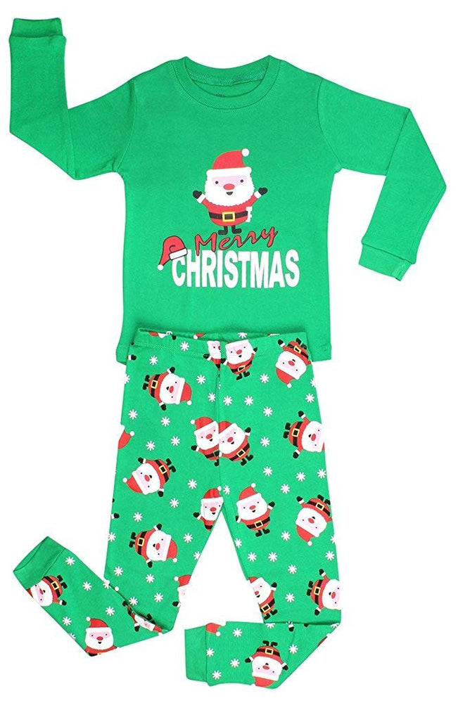 Elowel Boys Santa Christmas 2 Piece Kids Pajamas Set 100% Cotton (Size6M-12Y)
