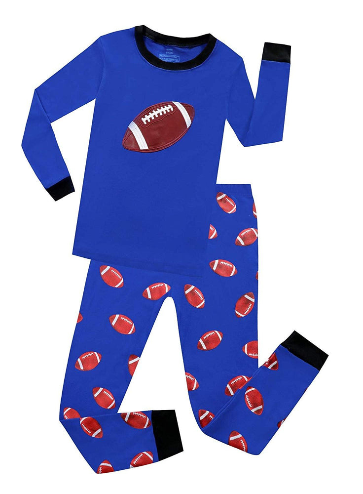Elowel Boys Football 2 Piece Pajama Set 100% Cotton (Size 2-12 Years)