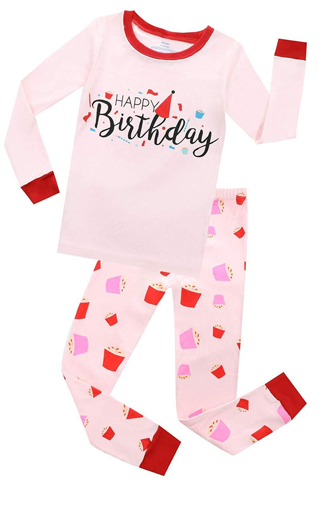 Elowel Girls Happy Birthday 2 Piece Pajama Set 100% Cotton (Size 12 Months -12 Years)