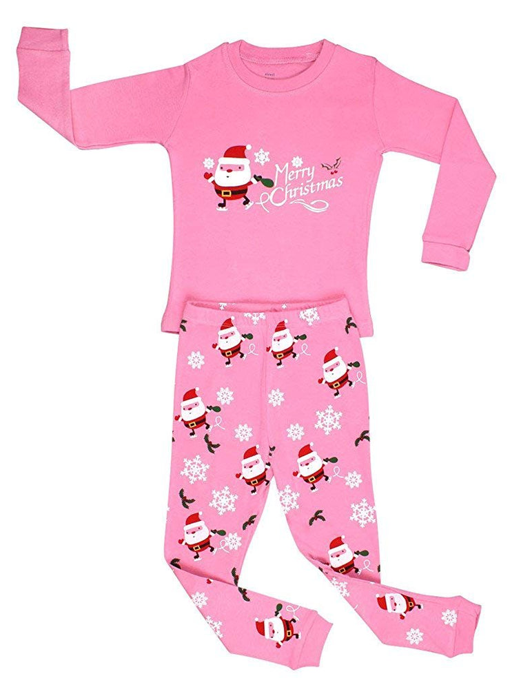 Elowel Girls Santa Christmas 2 Piece Kids Pajamas Set 100% Cotton (Size6M-12Y)
