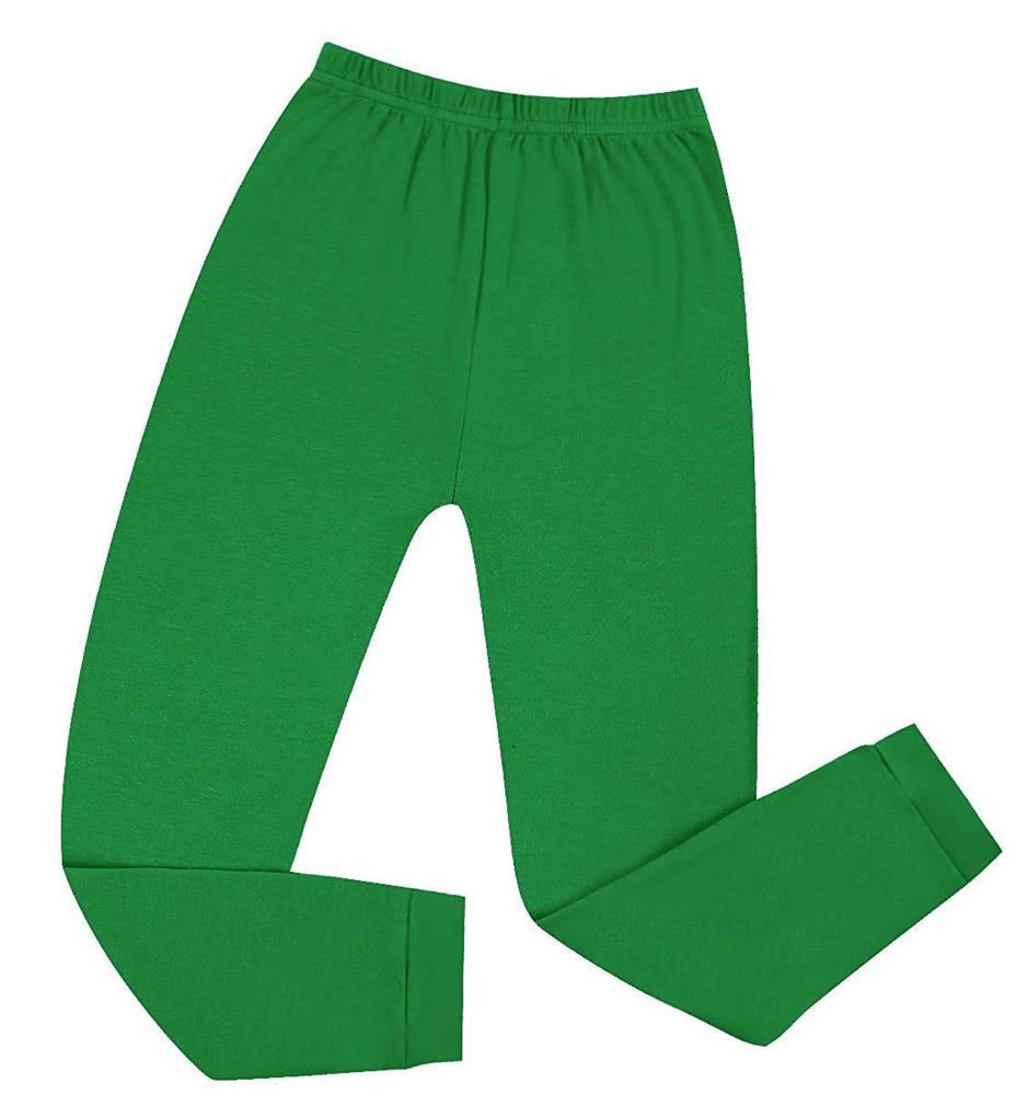Elowel Boys Girls Green Solid 2 Piece Pajama Set 100% Cotton (Size 2 -12 Years)