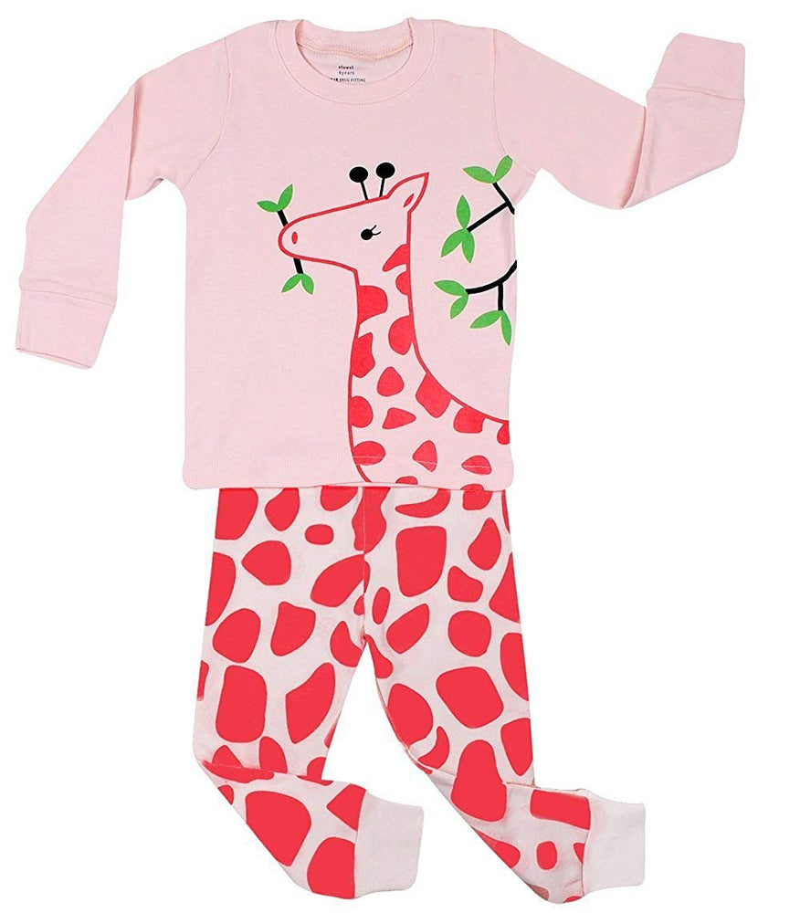 Elowel Girls Giraffe 2 Piece Pajama Set 100% Cotton (Size6M-8Y)
