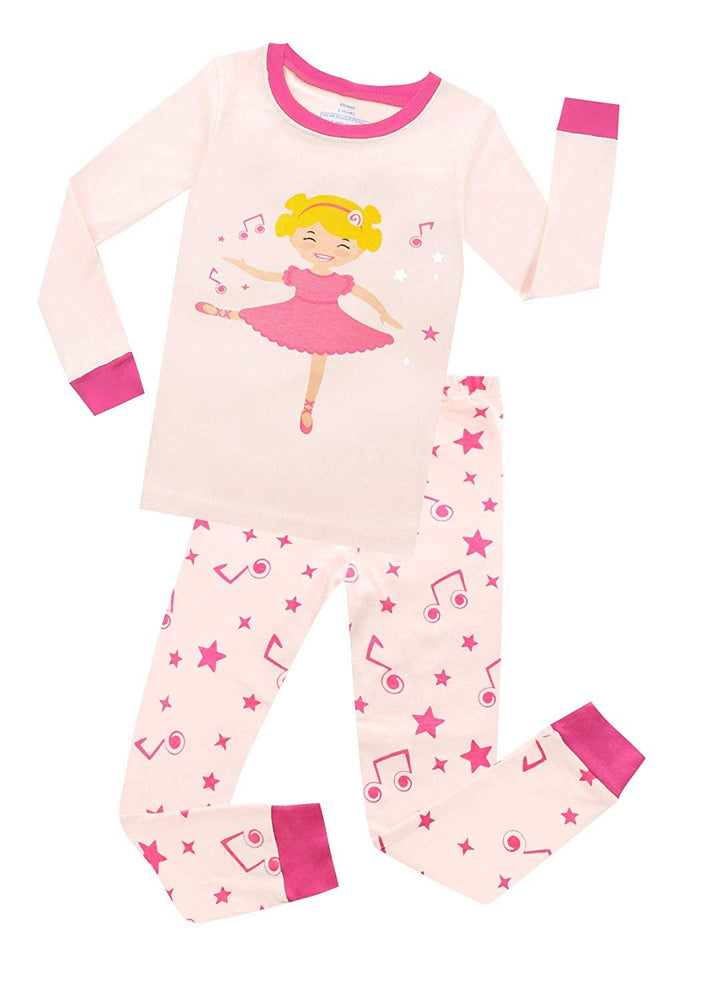 Elowel Girls Dancing Ballerina 2 Piece Pajama Set 100% Cotton (Size 12 Months -12 Years)